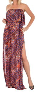 Orange and Blue Maxi Dress by Just Cavalli Beach Cover-up Summer Floor Length Maxi