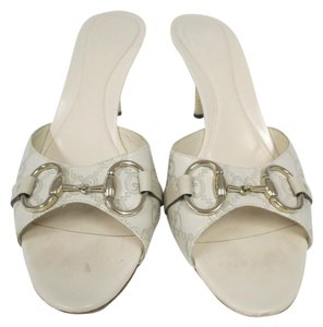 Gucci Size 9.5 Beige Monogram Leather with Silver Horsebit Sandals