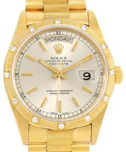 Rolex Rolex President Day-Date Yellow Gold Diamond Watch 18078 Box Papers