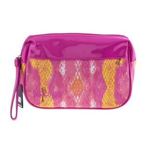 Just Cavalli New Just Cavalli Women Pink & Yellow Snake Small Wristlet Cosmetic