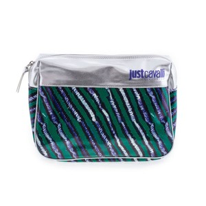 Just Cavalli New Just Cavalli Women Green & Silver Small Wristlet Cosmetic Bag