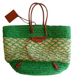 Balenciaga Raffia Striped Tote in green/natural