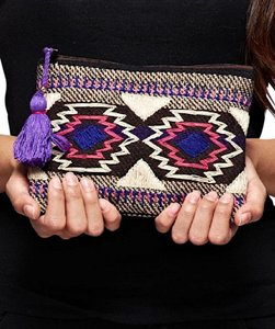 Southern Girl Fashion Weekender Ethnic Bohemian Travel Luggage Ethnic Navajo Tassel Mini Pouch Multi Clutch