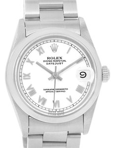 Rolex Rolex Midsize Datejust Stainless Steel White Roman Dial Watch 68240