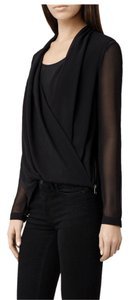AllSaints Brown Draped Eveline Top Black