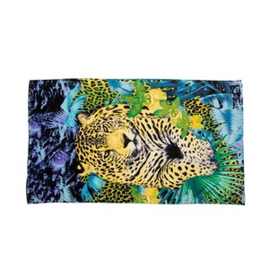 Just Cavalli Just Cavalli Yellow & Blue Animal Print 100% Cotton Large Beach Towel