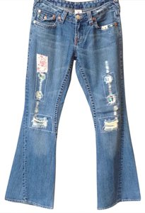 True Religion Trouser/Wide Leg Jeans-Medium Wash