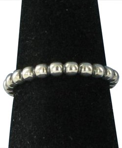 PANDORA 190381 Cloud Nine Ring Beaded Band Sterling Silver Sz 5.5