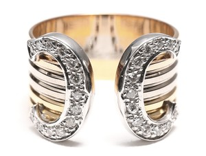 Cartier Double C Diamond 18k Tri-Color Wide Band Ring