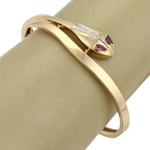 Modern Vintage Estate Diamond & Ruby Snake Bypass 18k Yellow Gold Bangle Bracelet