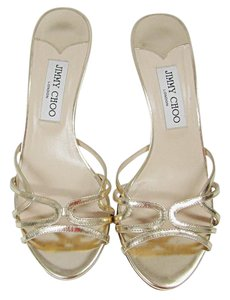 Jimmy Choo Metallic Strappy Heel Gold Sandals