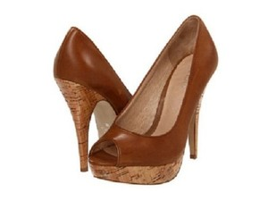 ALDO Cork Sole Peep Toe 38 Cognac brown Formal