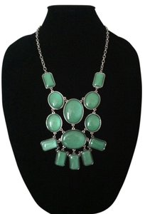 Other Green Tiered Silver Chain Statement Necklace