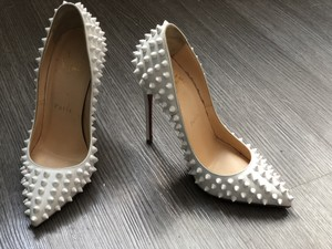 Christian Louboutin Studded Leather White Pumps