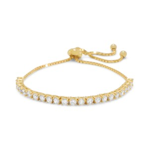 NEW ARRIVAL NEW Adjustable 14 Karat Gold Plated CZ Friendship Bolo Bracelet