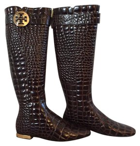 Tory Burch Crocodile Embossed Gold Logo & Details Riding Flat Knee High Dark Brown Boots