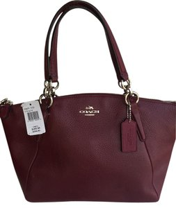 Coach Kelsey Pebbled Satchel in Burgundy