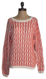 Anthropologie Knit Twisted Orange Cotton Blend Sweater