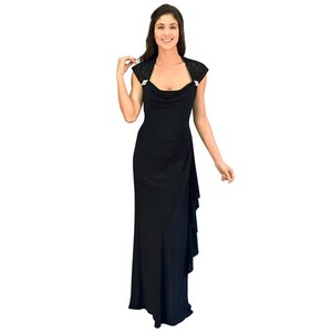 R & M Richards Black R&m Richards Shoulder Lace Gown Dress