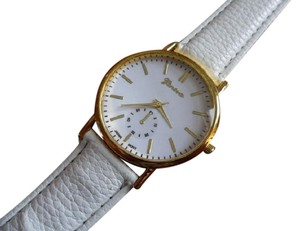 Geneva Spring white pu leather analog quartz watch free shipping