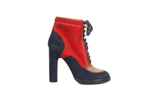 Bally Suede Navy & Red Boots
