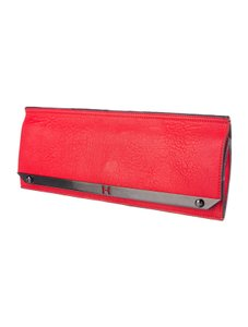 Halston Leather Metallic Hardware red Clutch