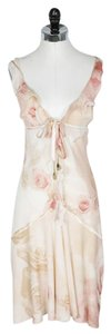 Roberto Cavalli short dress Peach and Ivory Floral Silk on Tradesy