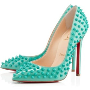 Christian Louboutin Spikes Patent Leather Stiletto Couture Turquoise Pumps