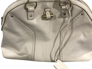 Saint Laurent Classic Luxury Leather Muse Satchel in Ivory