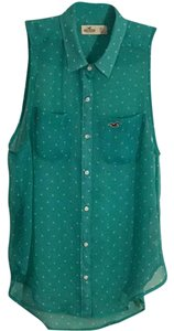 Hollister Top Seafoam green with white