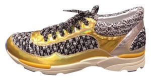 Chanel Cc Sneakers Kicks Tweed Black, White, Silver, Gold Athletic