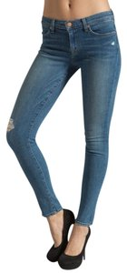 J Brand Super Skinny Distressed Light Wash Skinny Skinny Jeans-Medium Wash