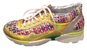 Chanel Cc Sneakers Kicks Tweed Pink, White, Silver, Gold Athletic