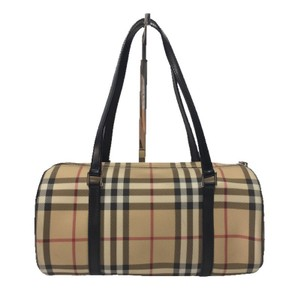 Burberry London Plaid Leather Canvas Signature Satchel in NOVA CHECK PRINT