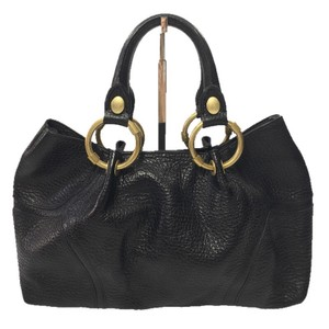 Kenneth Cole Leather Gold Hardware Fall Winter Spring Satchel in BLACK/ GOLD