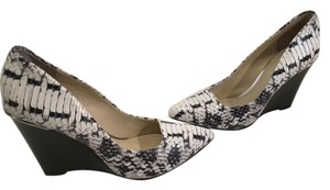 Coach Stack Wood Padded Insoles Black and White snake pattern all leather Wedges