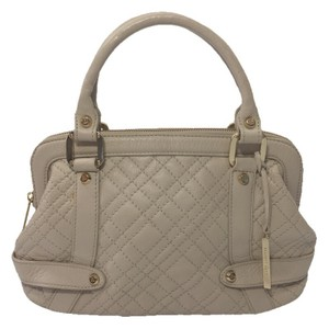 Elliott Lucca Quilted Gold Hardware Logo Leather Spring Satchel in BIEGE/ GOLD