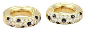Cartier Cartier 1.30ct Diamond Sapphire 18k YGold Huggie Earrings Box & Paper