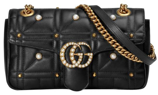 a0ca61e0a4ab4e Gucci Marmont Sale Gg Matelasse with Pearls Gold Hardware Black Leather  Shoulder Bag - Tradesy
