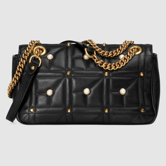 16d51daa8ee0 Gucci Marmont Sale Gg Matelasse with Pearls Gold Hardware Black Leather Shoulder  Bag - Tradesy