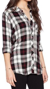 Rails Plaid Flannel 90s Grunge Casual Button Down Shirt Black white