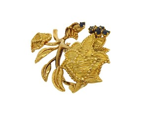 Tiffany & Co. Tiffany & Co. 18k Yellow Gold Sapphire Floral Pin