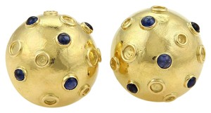 Tiffany & Co. Tiffany & Co. Cabochon Sapphire Half Dome Stud 14k Gold Earrings