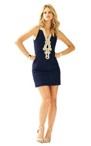 Lilly Pulitzer short dress Navy blue and Gold Metallic Embroidered Shift Sleeveless Mini on Tradesy