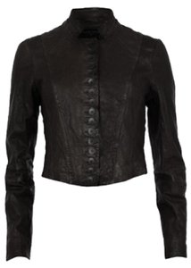 AllSaints Rare Sold Out Victorian Millitary Crop black Leather Jacket