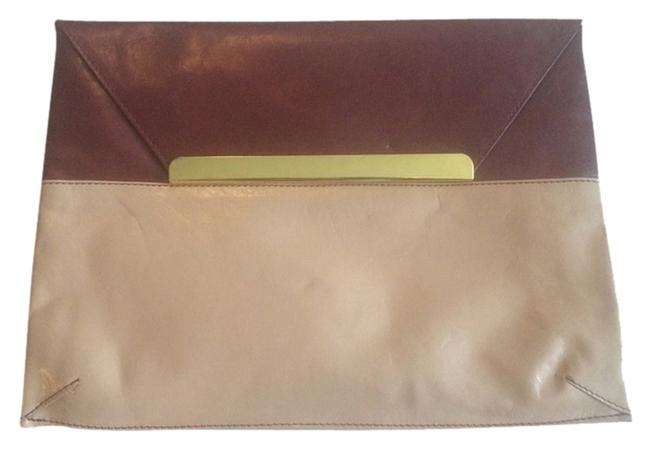 Item - Burgundy and Tan Leather Clutch