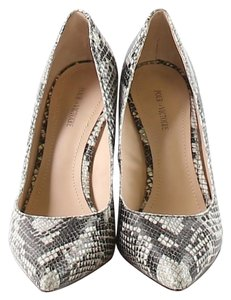 Pour La Victoire Black & white grey cream animal print Wedges