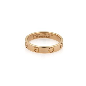 Cartier Cartier Mini Love 18k Rose Gold 3.5mm Band Ring Size EU 53-US 6.5