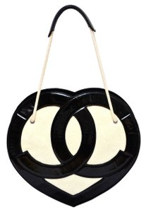 Chanel Valentine Terry Cloth Cc Logo Heart Shape Black And White Shoulder Bag