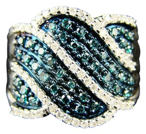 Other NEW LADIES UNIQUE BLUE/WHITE DIAMOND 17MM BAND RING .77 CT